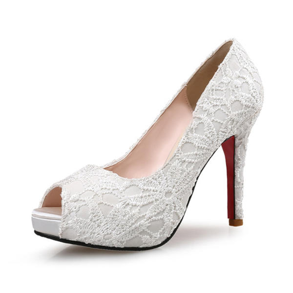 103db3b8814e Women s Lace Stiletto Heel Pumps Platform Peep Toe With Stitching Lace shoes