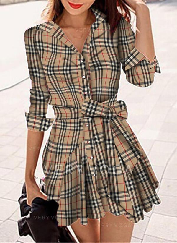 Tela escocesa Manga Larga Cubierta Sobre la Rodilla Casual Camisa Vestidos