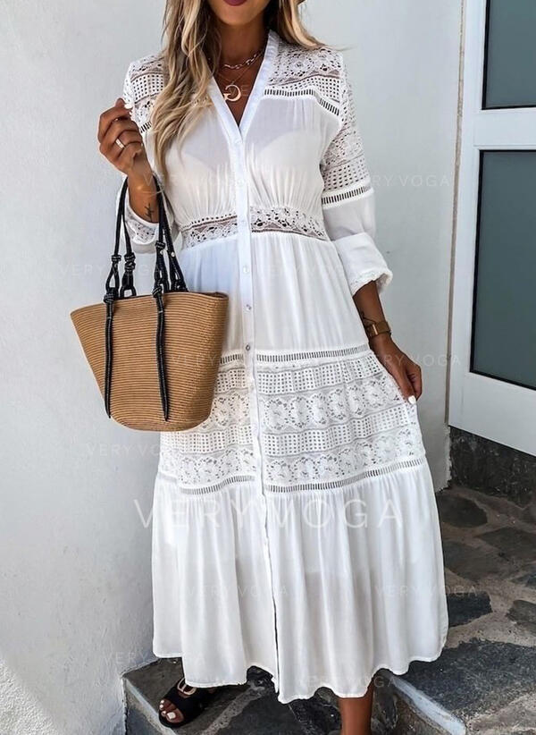 Lace/Solid Long Sleeves A-line Skater Casual/Elegant Maxi Dresses