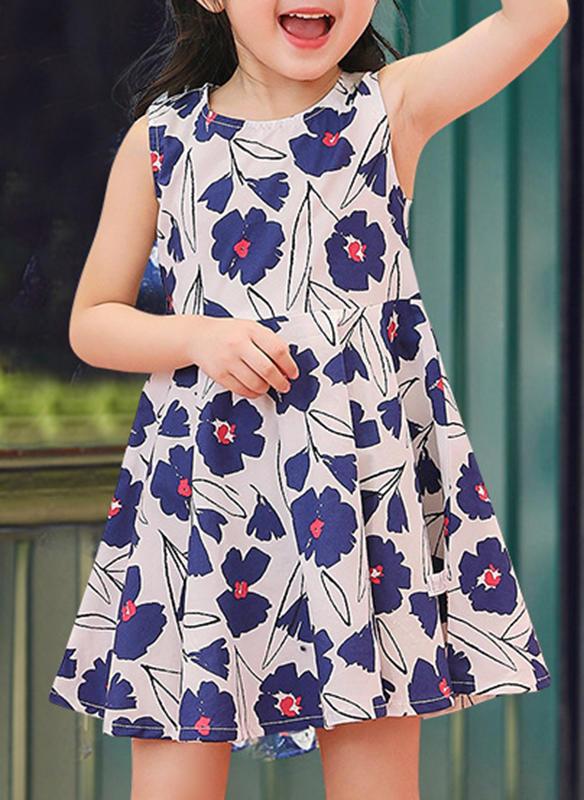 ce6b3eed60c Κορίτσια Στρογγυλός λαιμός Ανθινος Φερμουάρ Ανέμελος Χαριτωμένος Φόρεμα