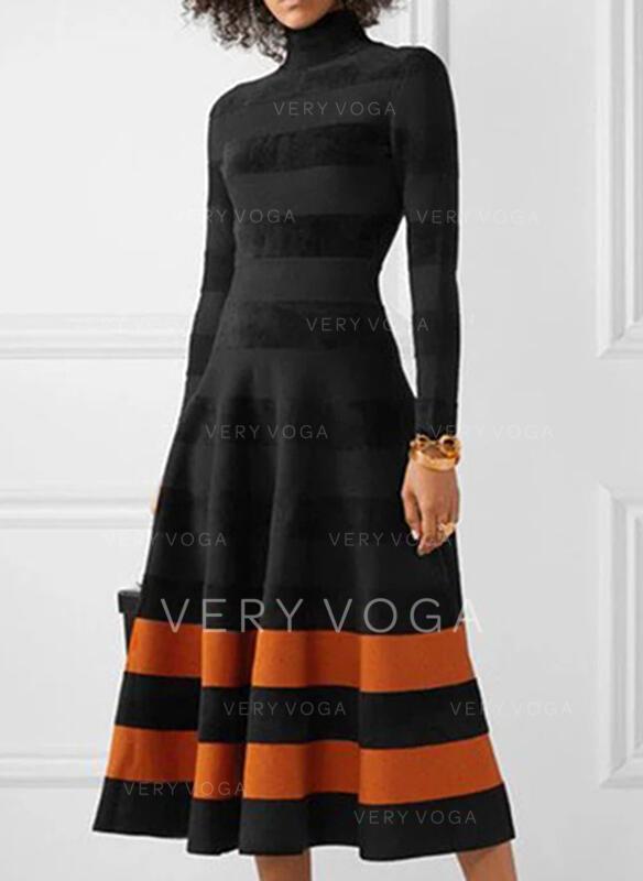 Colorblock Hosszú ujjú A-vonal Łyżwiaż Hétköznapokra Midi φορέματα