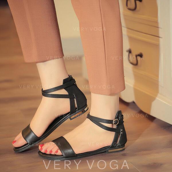 Dla kobiet PU Płaski Obcas Sandały Otwarty Nosek Buta Z Klamra obuwie