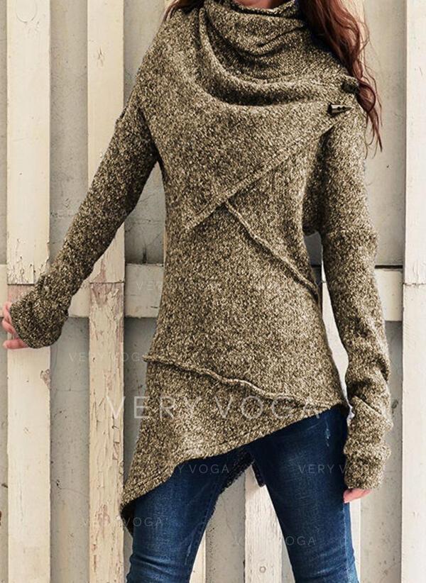Einfarbig Rollkragen Freizeit Asymmetrisch Pullover
