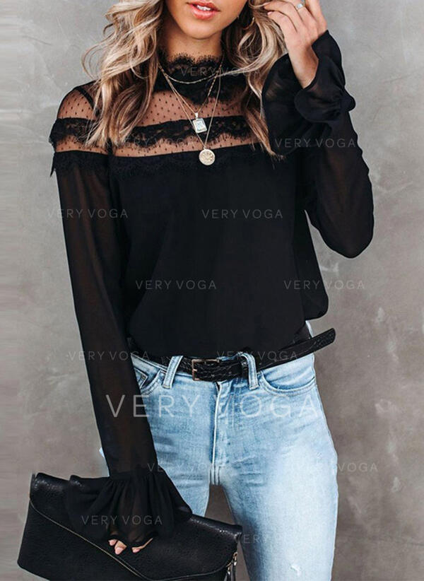 Solido Pizzo Alzarsi il colletto Flare Sleeve Maniche lunghe Casuale Camicie
