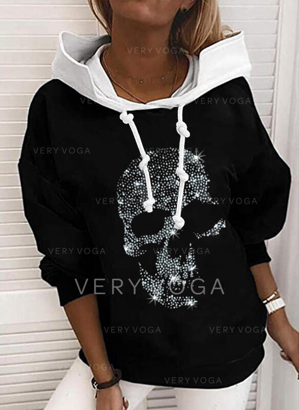 Print Sequins Long Sleeves Hoodie