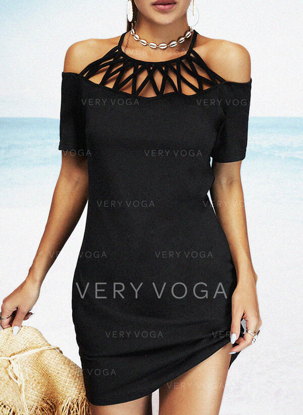 Solid/Mesh 1/2 Sleeves Sheath Above Knee Little Black/Casual/Vacation Dresses