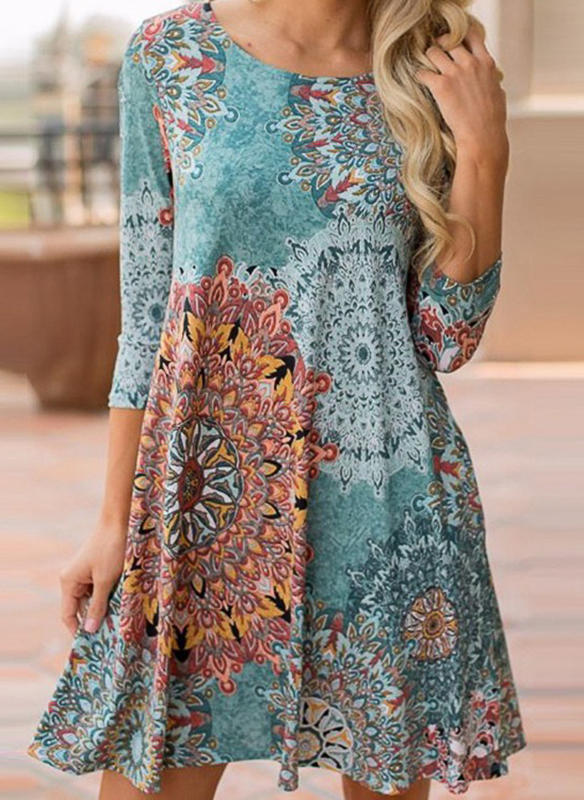 Print 3/4 Sleeves Shift Above Knee Casual/Elegant/Boho/Vacation Dresses