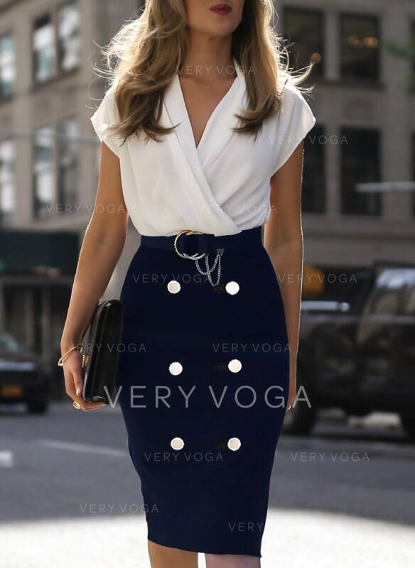 Color Block Short Sleeves Bodycon Knee Length Casual/Elegant Pencil Dresses