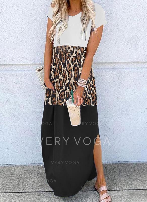 Print/Color Block/Leopard Short Sleeves Shift T-shirt Casual Maxi Dresses