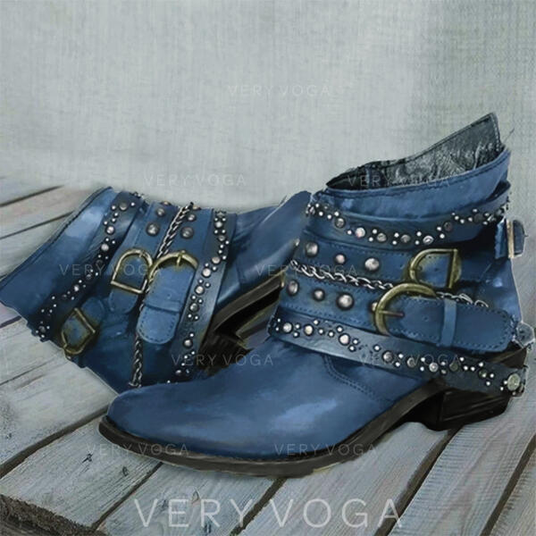Women's PU Chunky Heel Boots Round Toe With Rivet Buckle Solid Color shoes