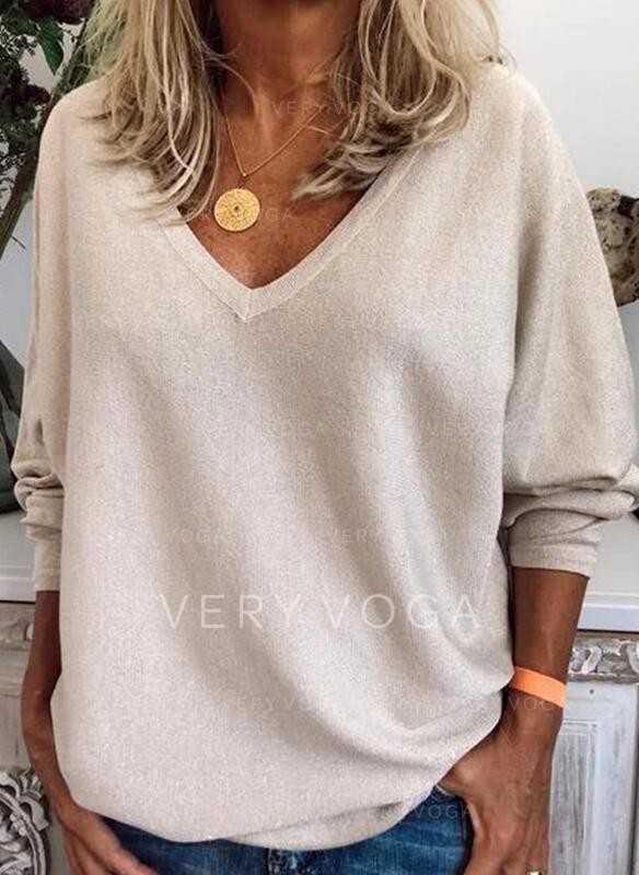 Düz / Tek (Renk) V yaka Uzun kollu Günlük Alap Pólók