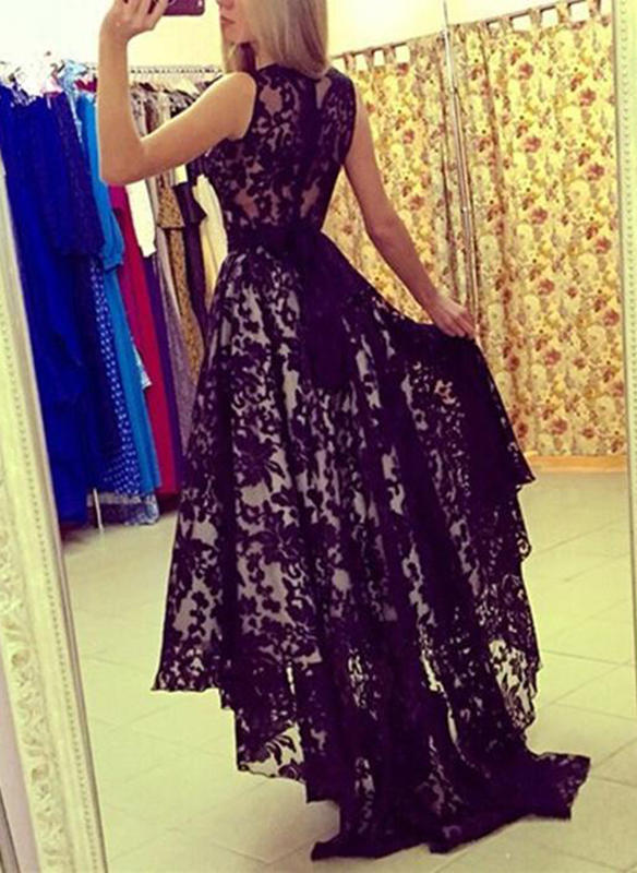 Encaje Sin mangas Acampanado Asimétrico Vintage/Elegante Vestidos