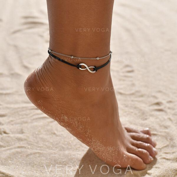 Simple Infinity Alloy Leather Rope Beach Jewelry Anklets (Set of 2)