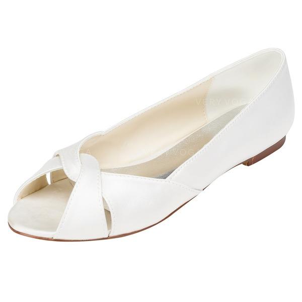 Frauen Satin Flascher Absatz Flache Schuhe mit Andere