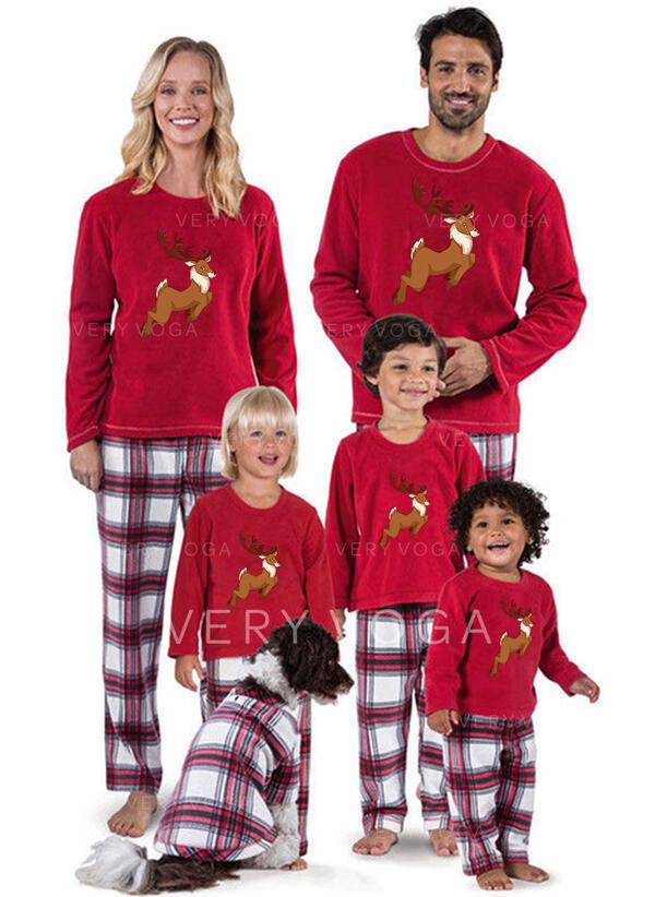 Reindeer Plaid Print Family Matching Christmas Pajamas