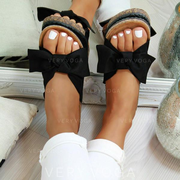 Donna PVC Senza tacco Sandalo Ballerine con Bowknot scarpe