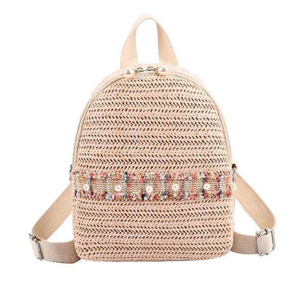 Pearl Style/Braided Straw Backpacks/Beach Bags