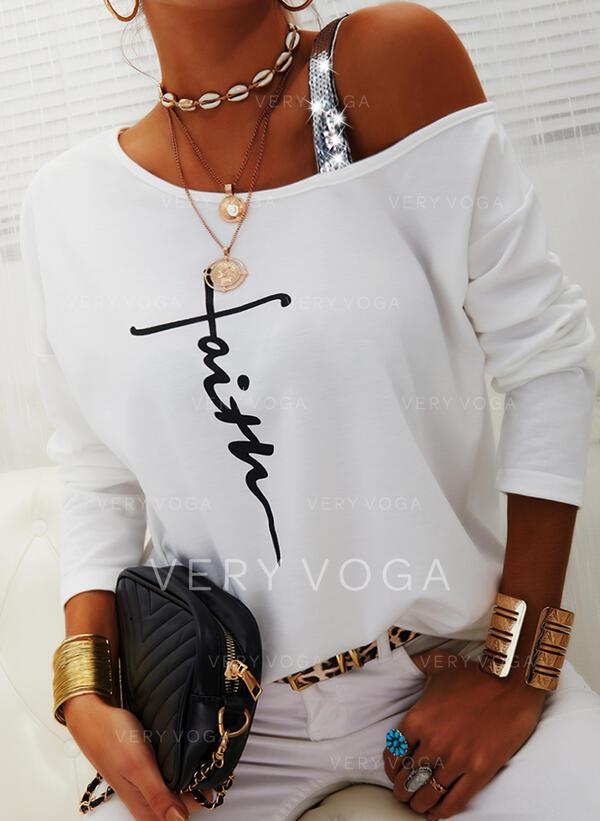 Stampa Paillettes Figura Una spalla Maniche lunghe Casuale Camicie