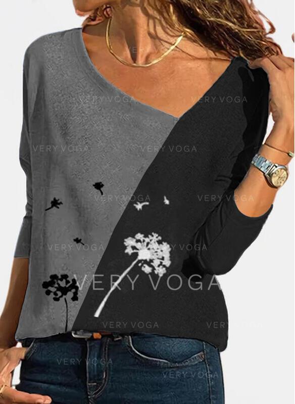 Print Color Block Dandelion V-Neck Long Sleeves Casual Blouses