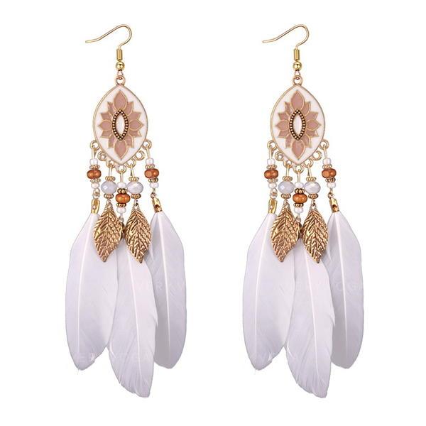 Unique Alliage Feather Acrylique Femmes Boucles d'oreille de mode