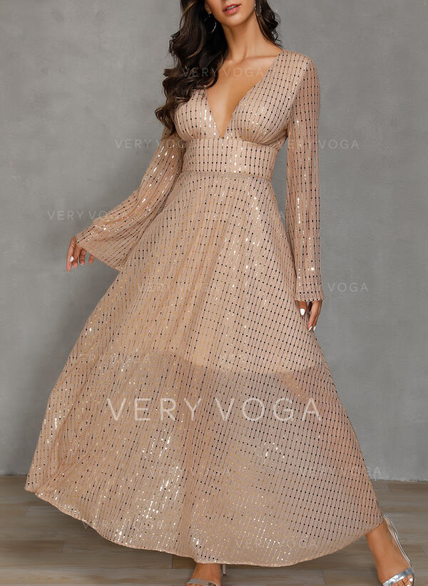 Sequins/Solid Long Sleeves A-line Skater Party Maxi Dresses