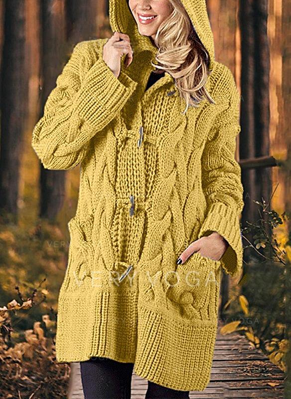 Jednobarevné Copánkový vzor Buzunar S kapucí Neformální Dlouhé Kardigan