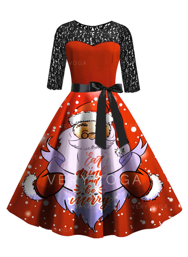 Lace/Print 3/4 Sleeves A-line Knee Length Vintage/Christmas/Party/Elegant Dresses