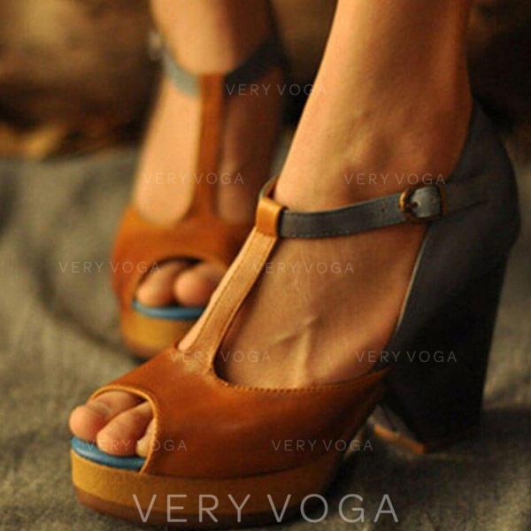 Pentru Femei PU Toc gros Sandale cu Cataramă pantofi