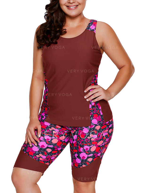 Floral Strap Plus Size Tankinis Swimsuits