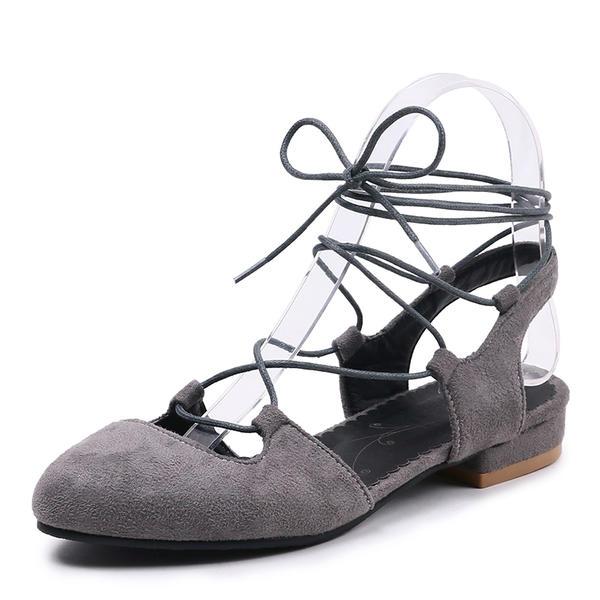 4a8b99d8681b55 Жіночі Замша Низький каблук Сандалі Босоніжки з Зашнурувати В'язаний одяг  взуття