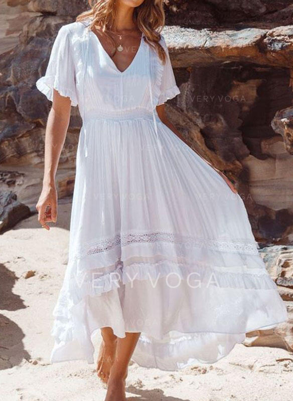 Lace/Solid Short Sleeves A-line Casual/Vacation Midi Dresses