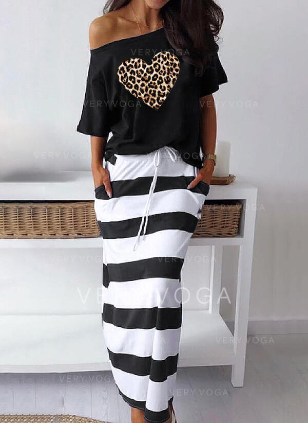 Striped/Leopard Short Sleeves Sheath Casual Midi Dresses