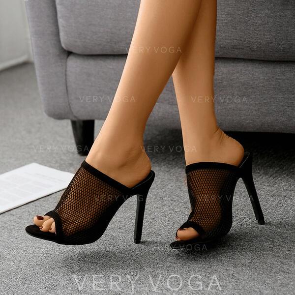 Mulheres Salto agulha Bombas Chinelos com Oca-out sapatos