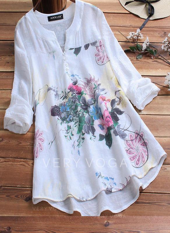 Kwiatowy Dekolt w kształcie litery V Długie rękawy Zapięcie na guzik Casual Elegancki Bluzki