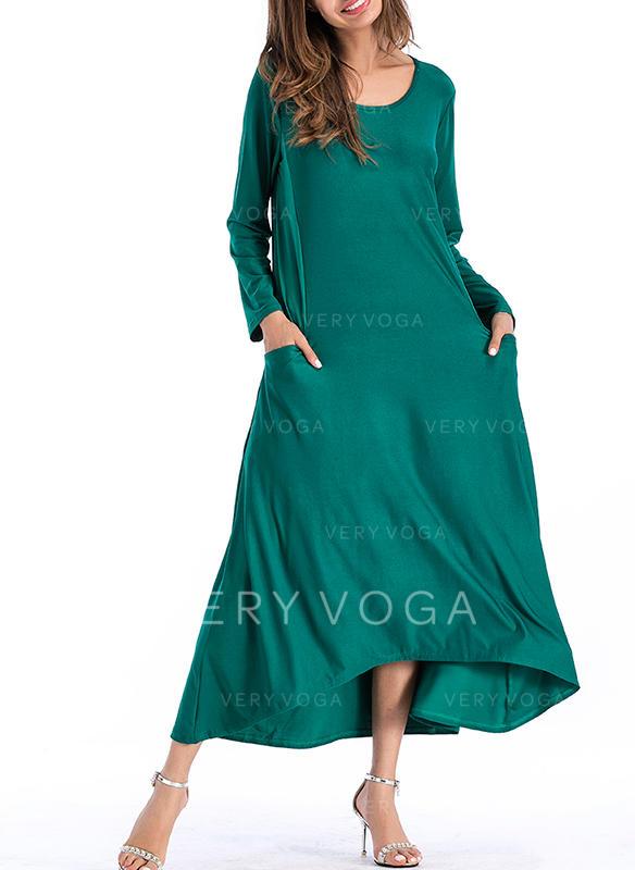 Solid Long Sleeves Shift Midi Casual Dresses
