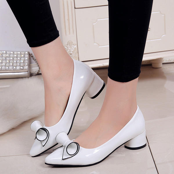 Women's PU Low Heel Pumps Closed Toe With Bowknot shoes