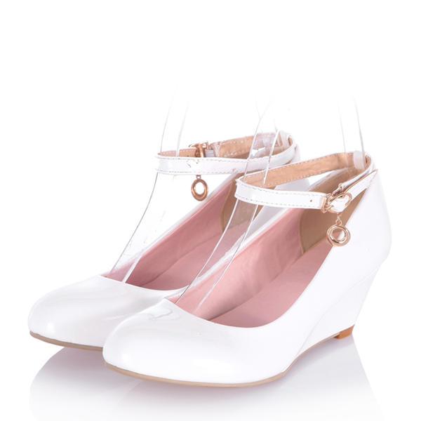 Frauen Lackleder Keil Absatz Keile mit Schnalle Schuhe