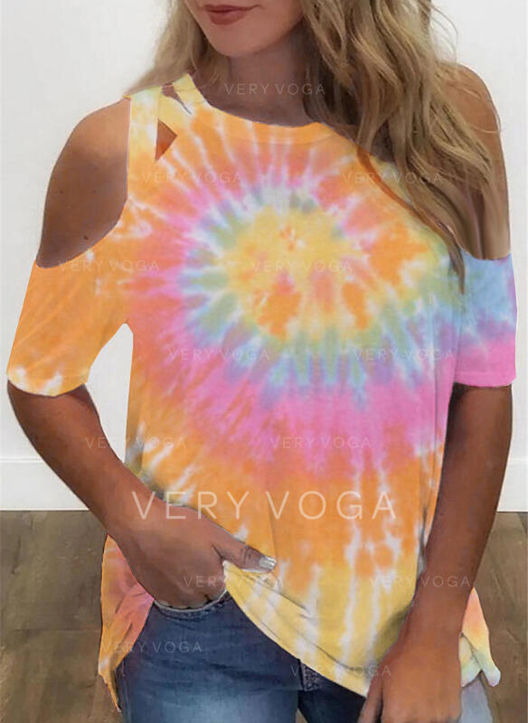 Tie Dye Cold Shoulder 1/2 Sleeves Casual Blouses