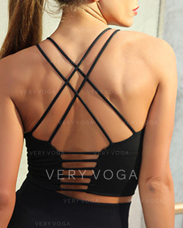 Round Neck Sleeveless Solid Color Cross Sports Bras