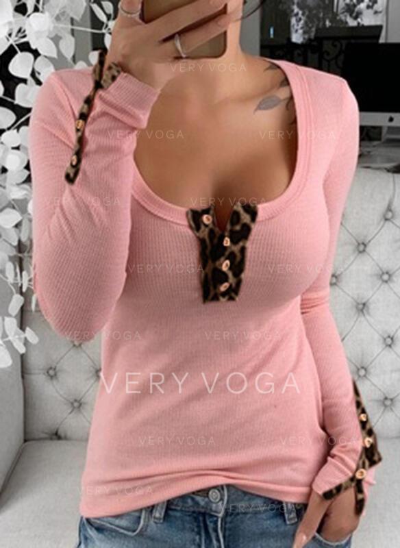 Leopard Rundhalsausschnitt Lange Ärmel T-Shirts