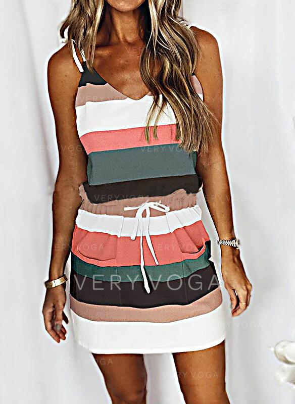 Bloque de color Sin mangas Cubierta Sobre la Rodilla Casual Camisón Vestidos