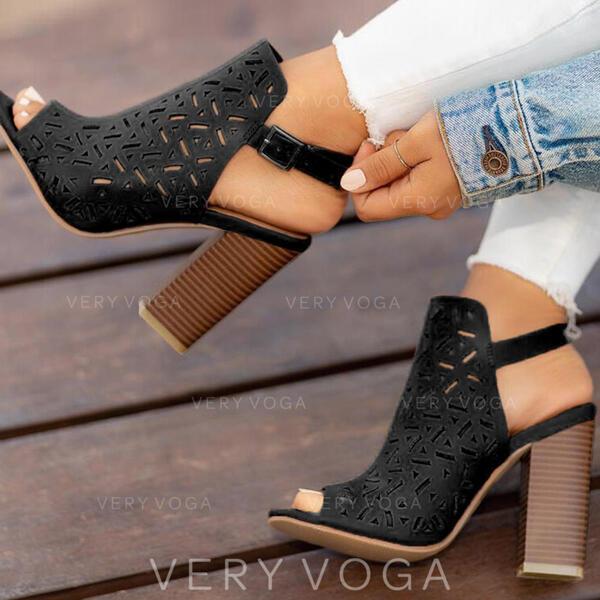 Frauen PU Stämmiger Absatz Peep Toe mit Schnalle Schuhe