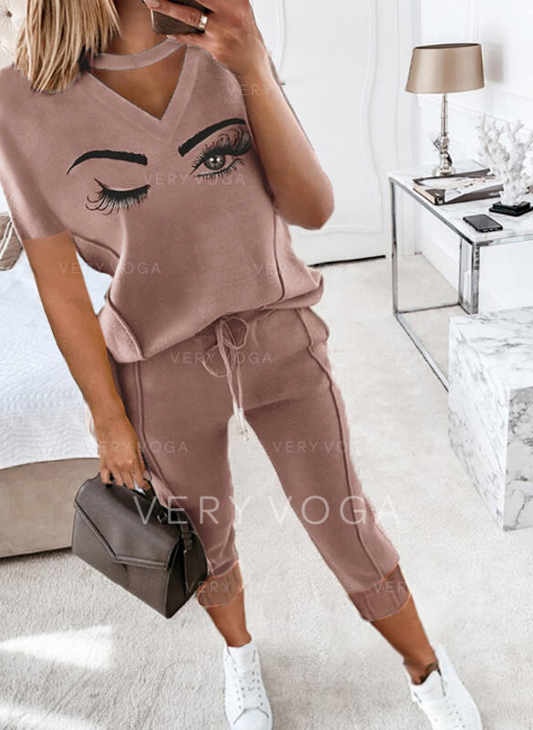 Eye Print Casual Plus Size Drawstring Two-Piece Outfits
