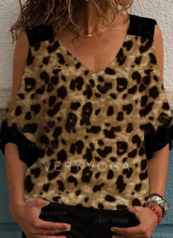 Leopardo Top sin Hombros Mangas 3/4 Casual Blusas