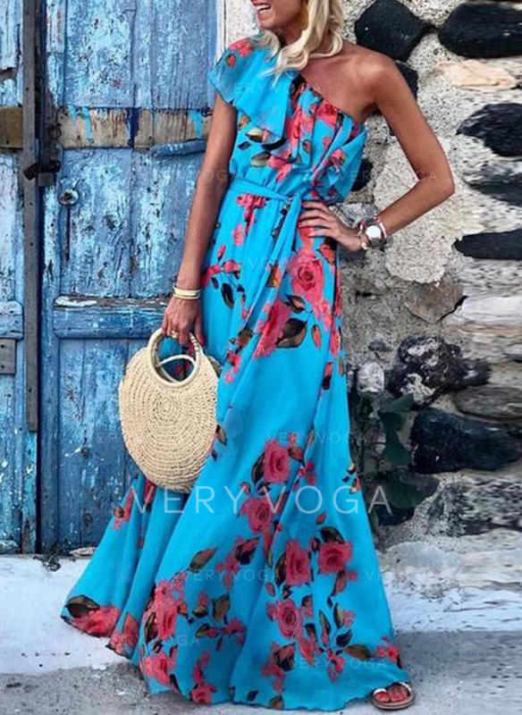 Print/Floral Cold Shoulder Sleeve A-line Maxi Casual/Vacation Dresses