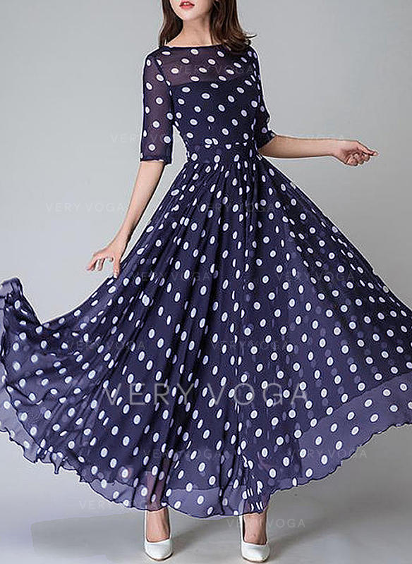 PolkaDot Short Sleeves A-line Vintage/Casual/Elegant Maxi Dresses