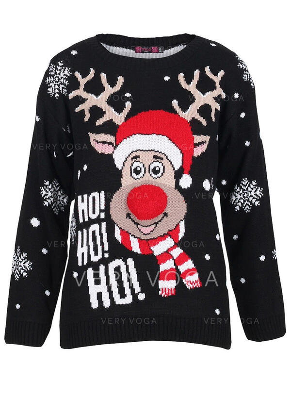 Uniseks Polyester Rendier Letter Lelijke kerstsweater
