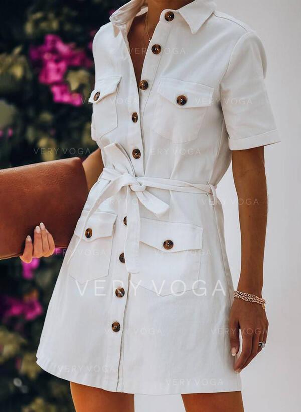 Μονόχρωμο Κοντά Μανίκια Μεσάτο Πάνω Από Το Γόνατο Καθημερινό Πουκάμισο Сукні
