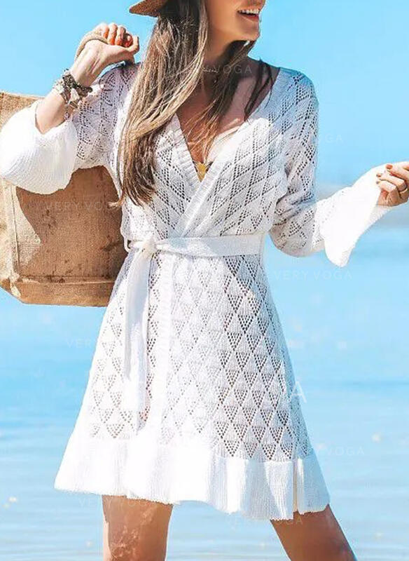 Solid Long Sleeves A-line Above Knee Casual/Vacation Dresses