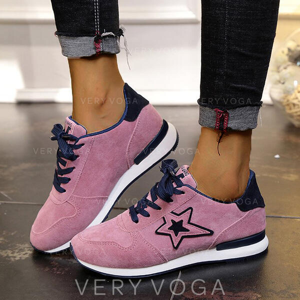 Women's Suede Flat Heel Flats Low Top Sneakers With Lace-up Splice Color shoes